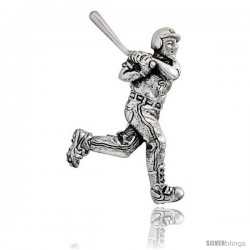 "Sterling Silver Baseball Player ""Batter"" Brooch Pin, 1 7/16"" (37 mm) tall"