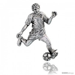 "Sterling Silver Soccer Player ""Striker / Forward"" Brooch Pin, 1 5/8"" (42 mm) tall"