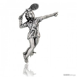 "Sterling Silver Tennis Player ""Server"" Brooch Pin, 1 5/16"" (36 mm) tall"