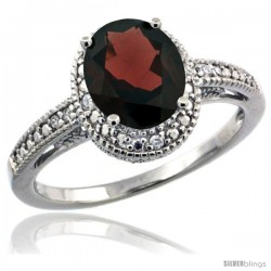 Sterling Silver Diamond Vintage Style Oval Garnet Stone Ring Rhodium Finish, 8x6 mm Oval Cut Gemstone