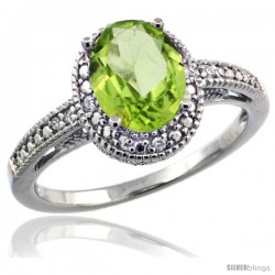 Sterling Silver Diamond Vintage Style Oval Peridot Stone Ring Rhodium Finish, 8x6 mm Oval Cut Gemstone