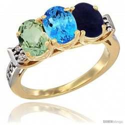 10K Yellow Gold Natural Green Amethyst, Swiss Blue Topaz & Lapis Ring 3-Stone Oval 7x5 mm Diamond Accent