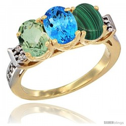 10K Yellow Gold Natural Green Amethyst, Swiss Blue Topaz & Malachite Ring 3-Stone Oval 7x5 mm Diamond Accent