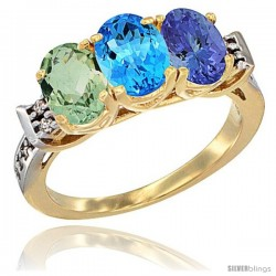 10K Yellow Gold Natural Green Amethyst, Swiss Blue Topaz & Tanzanite Ring 3-Stone Oval 7x5 mm Diamond Accent