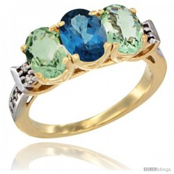 10K Yellow Gold Natural London Blue Topaz & Green Amethyst Sides Ring 3-Stone Oval 7x5 mm Diamond Accent