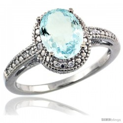 Sterling Silver Diamond Vintage Style Oval Aquamarine Stone Ring Rhodium Finish, 8x6 mm Oval Cut Gemstone
