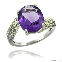 14k White Gold Natural Amethyst Ring 12x10 mm Oval Shape Diamond Halo, 1/2inch wide