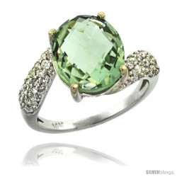 14k White Gold Natural Green Amethyst Ring 12x10 mm Oval Shape Diamond Halo, 1/2inch wide