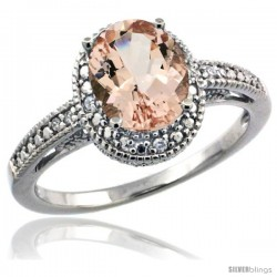 Sterling Silver Diamond Vintage Style Oval Morganite Stone Ring Rhodium Finish, 8x6 mm Oval Cut Gemstone