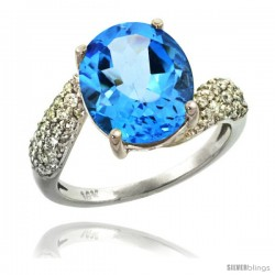 14k White Gold Natural Swiss Blue Topaz Ring 12x10 mm Oval Shape Diamond Halo, 1/2inch wide