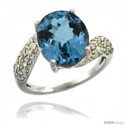 14k White Gold Natural London Blue Topaz Ring 12x10 mm Oval Shape Diamond Halo, 1/2inch wide
