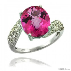 14k White Gold Natural Pink Topaz Ring 12x10 mm Oval Shape Diamond Halo, 1/2inch wide