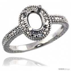 Sterling Silver Diamond Vintage Style Semi-Mount (7x5 mm Oval Stone Ring w/ 0.04 Carat Brilliant Cut
