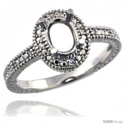 Sterling Silver Diamond Vintage Style Semi-Mount (7x5 mm Oval Stone Ring w/ 0.04 Carat Brilliant Cut