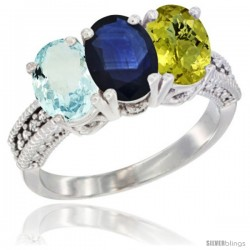 10K White Gold Natural Aquamarine, Blue Sapphire & Lemon Quartz Ring 3-Stone Oval 7x5 mm Diamond Accent