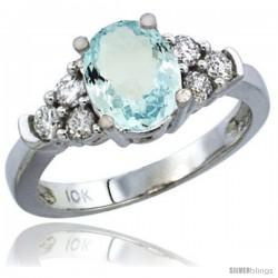 10K White Gold Natural Aquamarine Ring Oval 9x7 Stone Diamond Accent