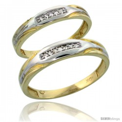10k Yellow Gold Diamond Wedding Rings 2-Piece set for him 4.5 mm & Her 3.5 mm 0.07 cttw Brilliant Cut