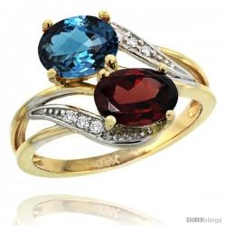14k Gold ( 8x6 mm ) Double Stone Engagement London Blue Topaz & Garnet Ring w/ 0.07 Carat Brilliant Cut Diamonds & 2.34 Carats