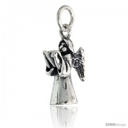 "Sterling Silver Guardian Angel Pendant, 11/16"" (17 mm) tall"