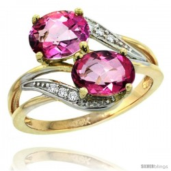 14k Gold ( 8x6 mm ) Double Stone Engagement Pink Topaz Ring w/ 0.07 Carat Brilliant Cut Diamonds & 2.34 Carats Oval Cut Stones