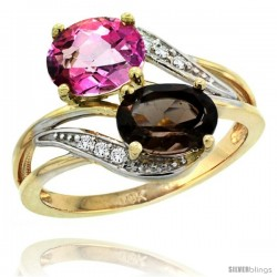 14k Gold ( 8x6 mm ) Double Stone Engagement Pink & Smoky Topaz Ring w/ 0.07 Carat Brilliant Cut Diamonds & 2.34 Carats Oval Cut