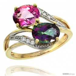 14k Gold ( 8x6 mm ) Double Stone Engagement Pink & Mystic Topaz Ring w/ 0.07 Carat Brilliant Cut Diamonds & 2.34 Carats Oval