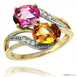 14k Gold ( 8x6 mm ) Double Stone Engagement Pink Topaz & Citrine Ring w/ 0.07 Carat Brilliant Cut Diamonds & 2.34 Carats Oval