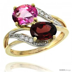14k Gold ( 8x6 mm ) Double Stone Engagement Pink Topaz & Garnet Ring w/ 0.07 Carat Brilliant Cut Diamonds & 2.34 Carats Oval