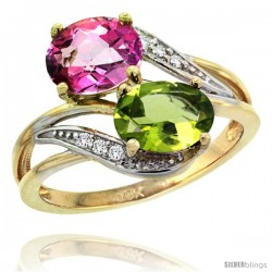 14k Gold ( 8x6 mm ) Double Stone Engagement Pink Topaz & Peridot Ring w/ 0.07 Carat Brilliant Cut Diamonds & 2.34 Carats Oval