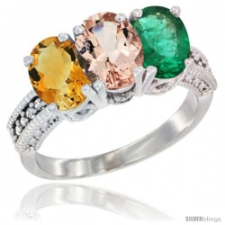 14K White Gold Natural Citrine, Morganite & Emerald Ring 3-Stone 7x5 mm Oval Diamond Accent