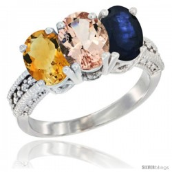 14K White Gold Natural Citrine, Morganite & Blue Sapphire Ring 3-Stone 7x5 mm Oval Diamond Accent