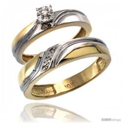 14k Gold 2-Pc Diamond Ring Set (4mm Engagement Ring & 5mm Man's Wedding Band), w/ 0.049 Carat Brilliant Cut Diamonds