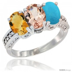 14K White Gold Natural Citrine, Morganite & Turquoise Ring 3-Stone 7x5 mm Oval Diamond Accent