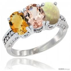 14K White Gold Natural Citrine, Morganite & Opal Ring 3-Stone 7x5 mm Oval Diamond Accent