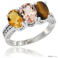 14K White Gold Natural Citrine, Morganite & Tiger Eye Ring 3-Stone 7x5 mm Oval Diamond Accent