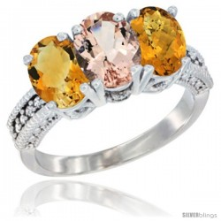 14K White Gold Natural Citrine, Morganite & Whisky Quartz Ring 3-Stone 7x5 mm Oval Diamond Accent