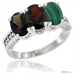 10K White Gold Natural Smoky Topaz, Garnet & Malachite Ring 3-Stone Oval 7x5 mm Diamond Accent