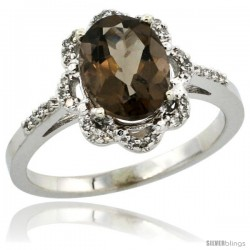 10k White Gold Diamond Halo Smoky Topaz Ring 1.65 Carat Oval Shape 9X7 mm, 7/16 in (11mm) wide