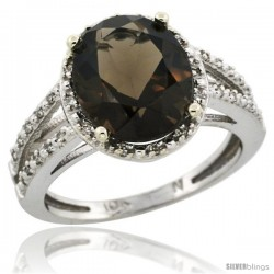 10k White Gold Diamond Halo Smoky Topaz Ring 2.85 Carat Oval Shape 11X9 mm, 7/16 in (11mm) wide