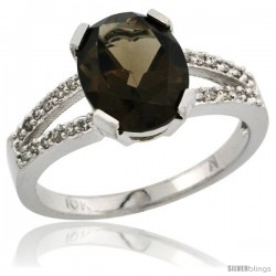 10k White Gold and Diamond Halo Smoky Topaz Ring 2.4 carat Oval shape 10X8 mm, 3/8 in (10mm) wide