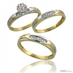 10k Yellow Gold Diamond Trio Engagement Wedding Ring 3-piece Set for Him & Her 4.5 mm & 3.5 mm wide 0.13 cttw Brilliant Cut