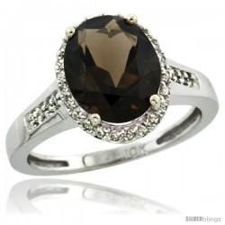 10k White Gold Diamond Smoky Topaz Ring 2.4 ct Oval Stone 10x8 mm, 1/2 in wide