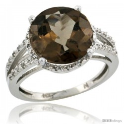 10k White Gold Diamond Smoky Topaz Ring 5.25 ct Round Shape 11 mm, 1/2 in wide