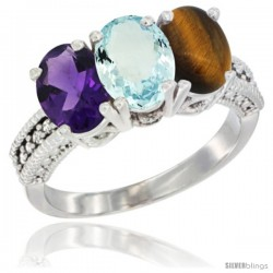 14K White Gold Natural Amethyst, Aquamarine & Tiger Eye Ring 3-Stone 7x5 mm Oval Diamond Accent