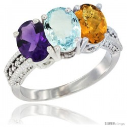 14K White Gold Natural Amethyst, Aquamarine & Whisky Quartz Ring 3-Stone 7x5 mm Oval Diamond Accent