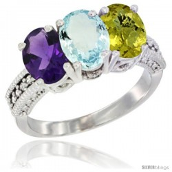 14K White Gold Natural Amethyst, Aquamarine & Lemon Quartz Ring 3-Stone 7x5 mm Oval Diamond Accent