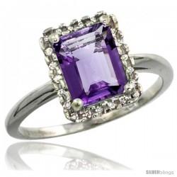 14k White Gold Diamond Amethyst Ring 1.6 ct Emerald Shape 8x6 mm, 1/2 in wide