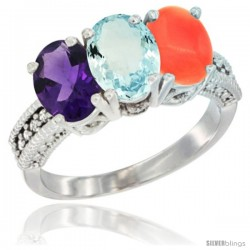 14K White Gold Natural Amethyst, Aquamarine & Coral Ring 3-Stone 7x5 mm Oval Diamond Accent