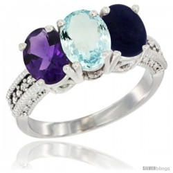 14K White Gold Natural Amethyst, Aquamarine & Lapis Ring 3-Stone 7x5 mm Oval Diamond Accent