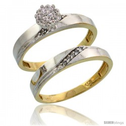 10k Yellow Gold Diamond Engagement Rings Set 2-Piece 0.09 cttw Brilliant Cut, 1/8 in wide -Style 10y015e2